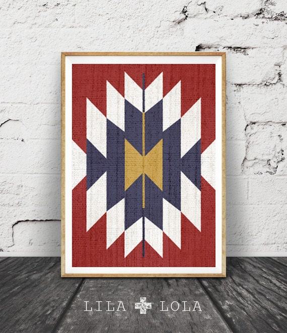 Aztec Print, Western Art Decor, Mexican Rug, Mexico, Tribal, Red Blue White Gold Wall Art, Printable Instant Download,