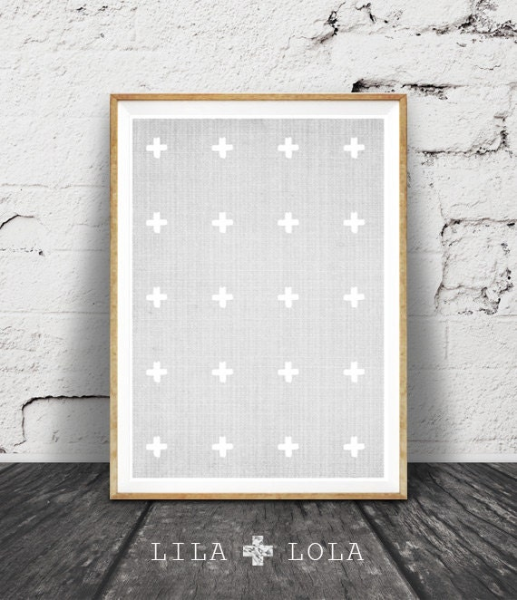 Cross Print, Swiss Cross Wall Art Decor, Grey and White Cross Pattern Print, Printable Cross, Grey and White Decor, Downloadable Cross