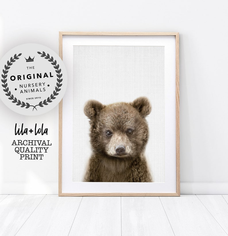 Bear Cub Print Nursery Baby Animal Wall Art Woodland Decor image 0