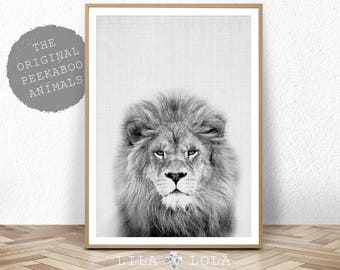 Nursery Animal Print, Lion Wall Art, Kids Room Poster, Printable Kids Gift, Digital Download, Black and White Lion, Lila and Lola