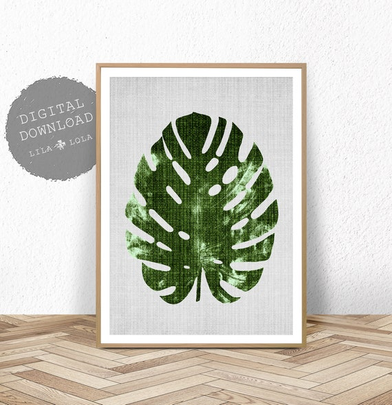 Monstera Leaf Print, Botanical Wall Art, Large Printable Poster, Digital Download, Tropical Decor, Printable Botanical Leaf Poster