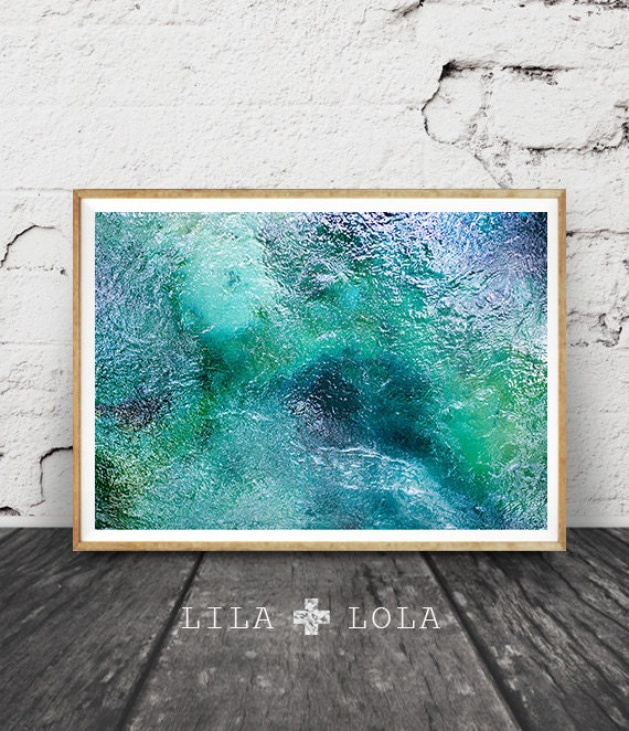 Tropical Abstract Water Photography, Printable Wall Art Print, Mataranka Spring, Australia, Modern, Blue Green Teal Turquoise Home Decor
