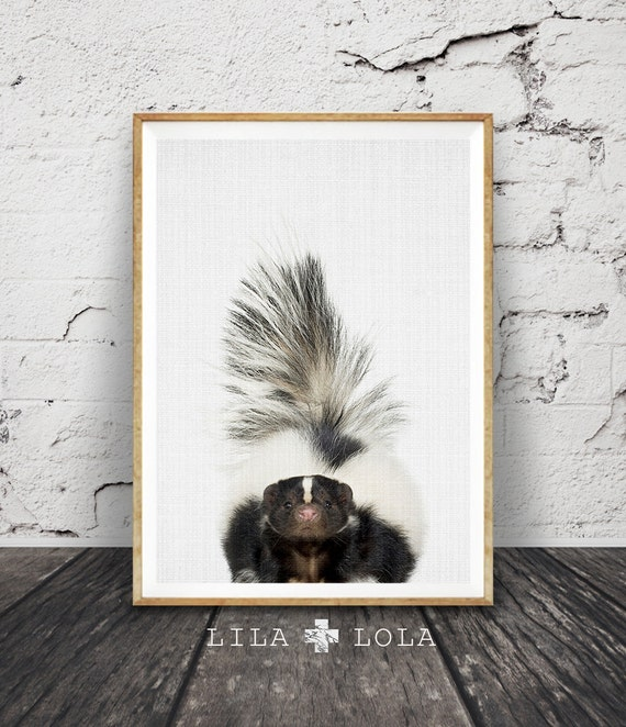 Skunk Print, Nursery Wall Art, Woodland Decor, Forest Animal, Large Printable Poster, Instant Digital Download, Kids Room Art Modern Minimal