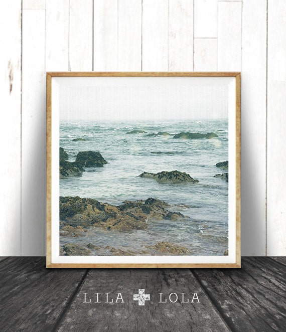 Beach House Art, Ocean Water Print, Coastal Beach Nautical Decor, Large Square Print, Blue, Beach House Decor, Printable