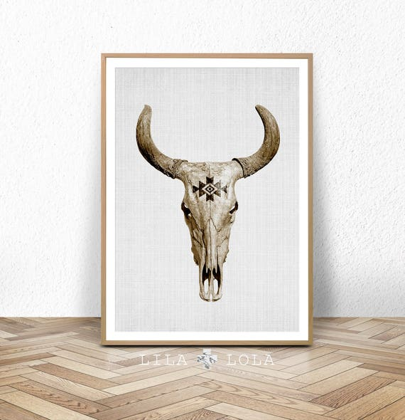Bull Skull Print, Cow Horns Wall Art, Boho Decor, Modern Bohemian, Southwestern Country, Monochrome, Black and White, Printable Download