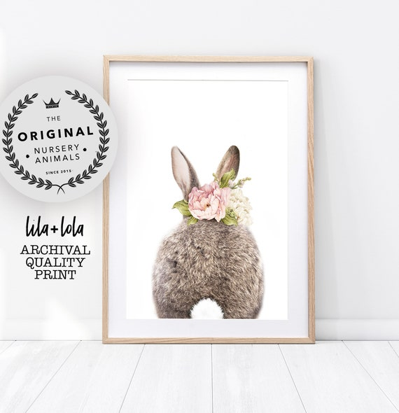 Girls Bedroom Decor, Bunny Rabbit Tail Print, Nursery Animal Wall Art, Large Wall Art, Watercolour Flower, Pink Roses, Butt