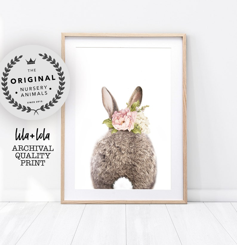 Girls Bedroom Decor Bunny Rabbit Tail Print Nursery Animal image 0