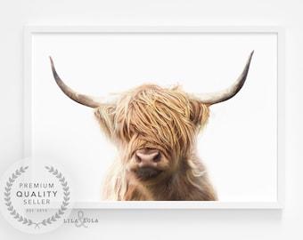 Highland Cow Print - Printable Wall Art - Boho or Farmhouse Nursery Decor