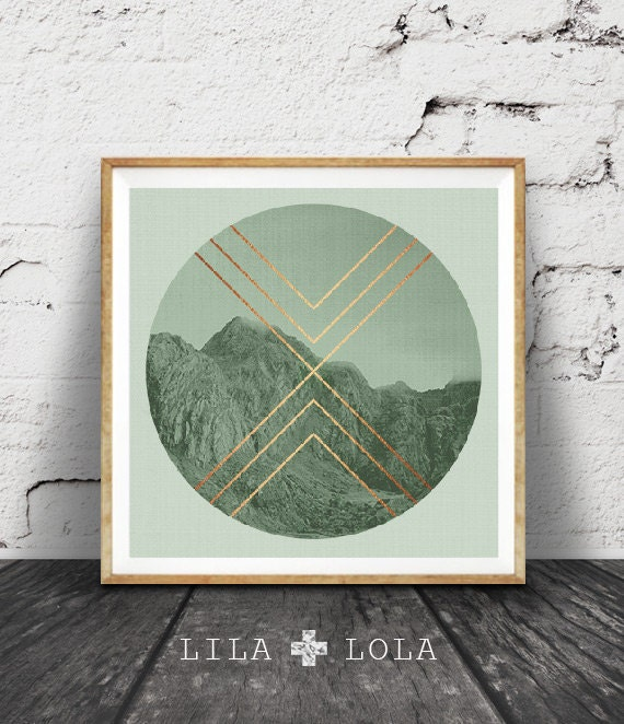 Geometric Mountains Print, Sage Green Decor, Faux Rose Gold Copper Foil, Mountain Photo, Moody Photography, Scandinavian Wall Art, Square