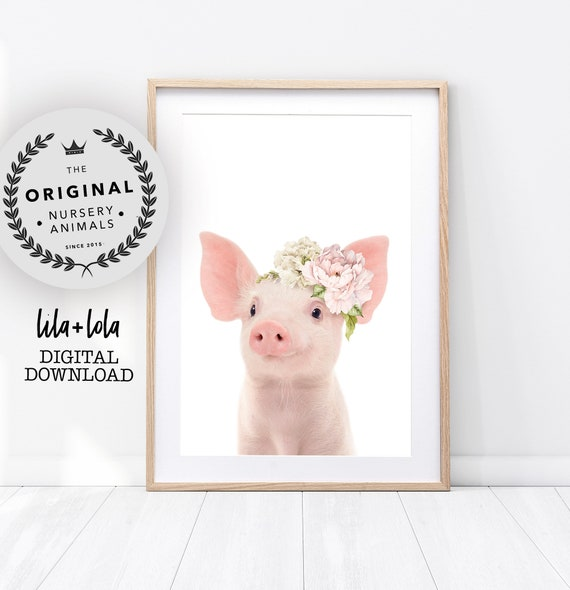 Floral Piglet Print - Digital Download