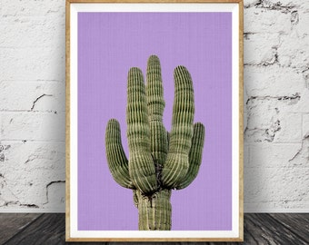 Purple Cactus Print, Mexican Wall Art, Arizona, South Western Decor, Printable Poster, Digital Download, Aztec, Botanical Cacti Plant Print