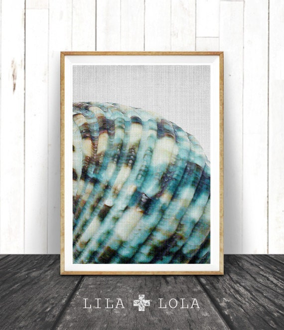 Sea Shell Print, Minimalist Coastal Wall Art Decor, Blue Beach Decor, BlueTeal Aqua Turquoise Printable Art, Instant Download Seashell Print