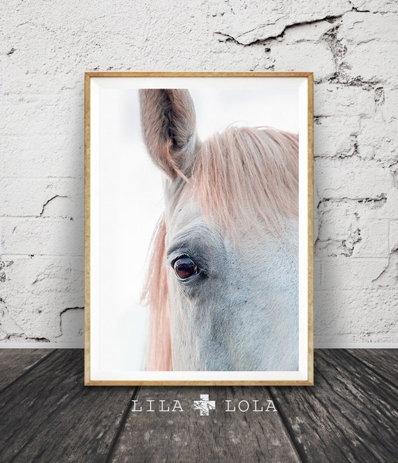 Horse Print, Colour Photo, Wall Art Photography, Printable Large Poster, Pastel Pink, Digital Download, Modern Minimalist, Girls Room Decor