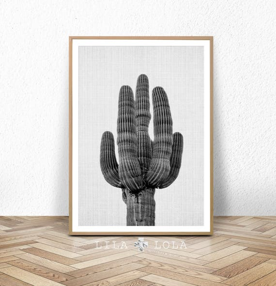 Cactus Print, Black and White Wall Art, Western Decor, Photography, Digital Download, Printable Poster, Large Wall Art, Western Cactus Art