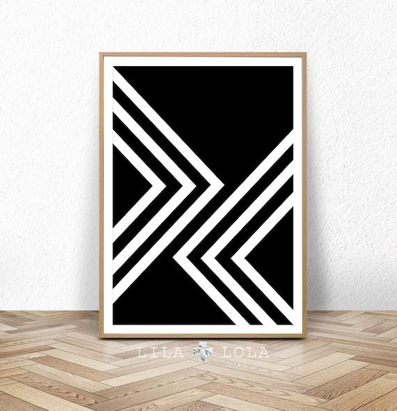 Black and White Print, Abstract Art, Geometric Scandinavian Wall Art, Mid Century Modern Printable, Large Digital Download Minimalist Poster