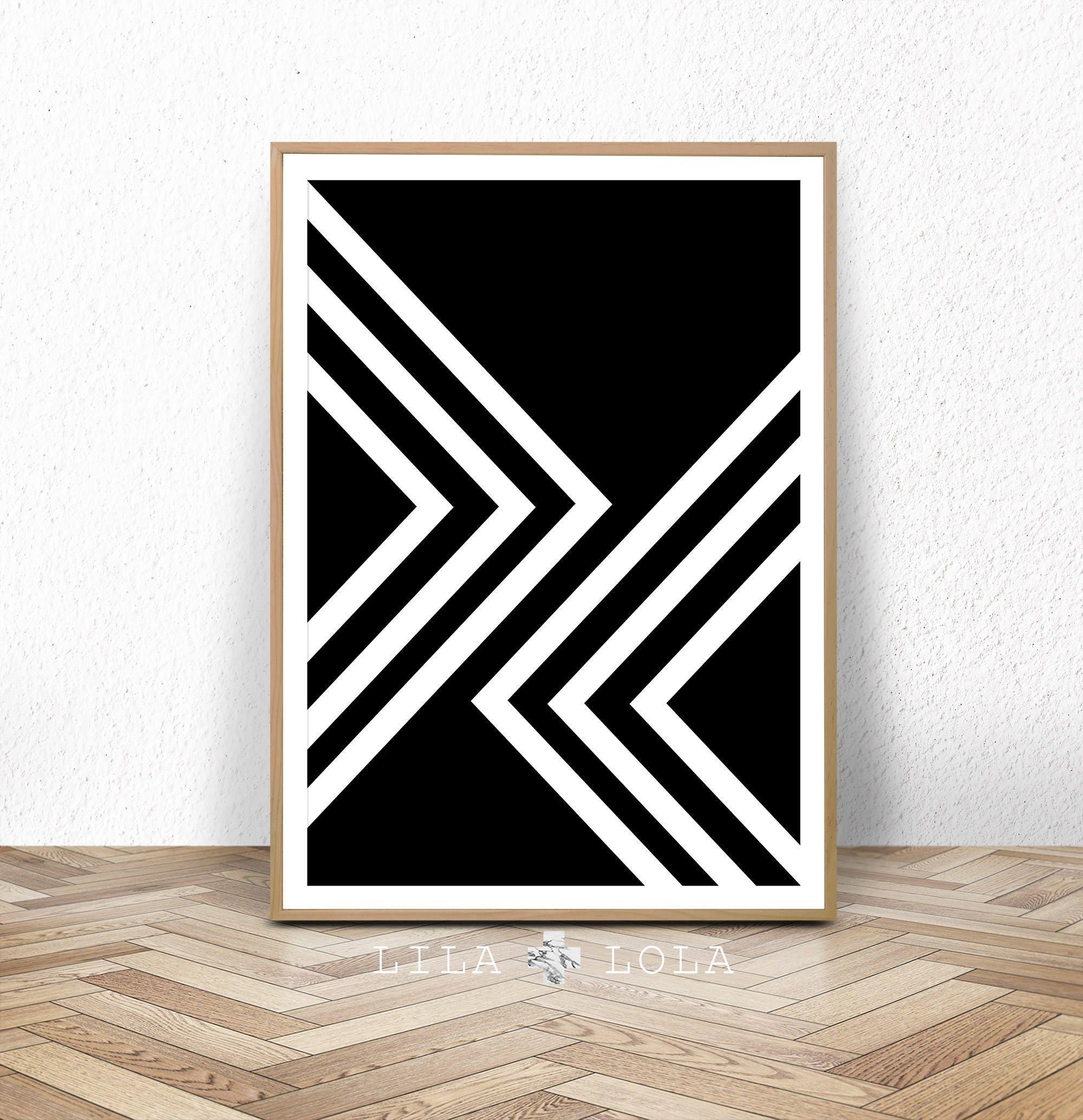 Black And White Print Abstract Art Geometric Scandinavian