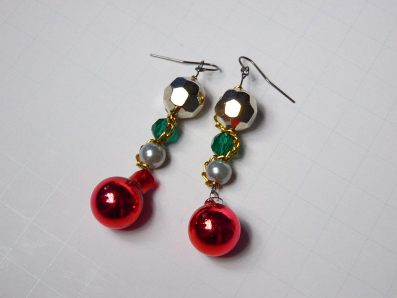 Vintage Style Christmas Ornament Earrings Silver and Green Holiday Earrings Chain and Bead Earrings Red Bobble Earrings For Her