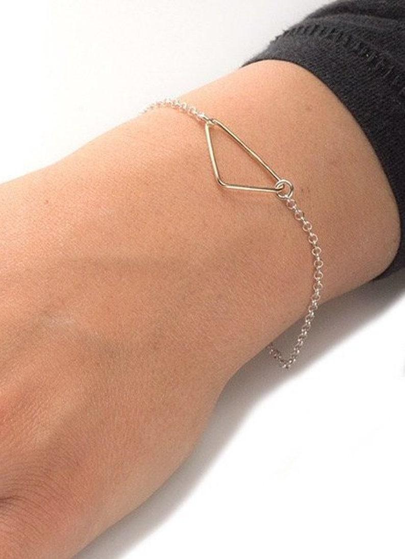 Gold triangle bracelet Gold bracelet silver bracelet Two tone bracelet delicate brcelet minimal bracelet  dainty gold bracelet
