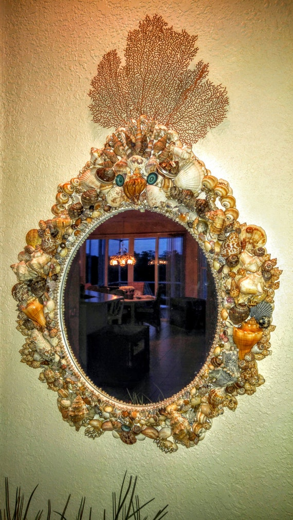 "Stately, Seashell Mirror, Large, Baroque Style ""The Gordon Drive"""