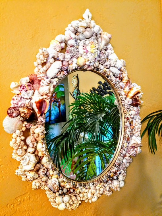 "Stately, Baroque Large Seashell Mirror: ""The First Knight"""