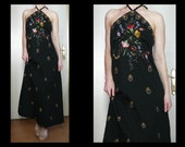Vintage 70s black halter maxi dress w multicolored floral embroidery peacock design - bohemian disco summer party dress - size M
