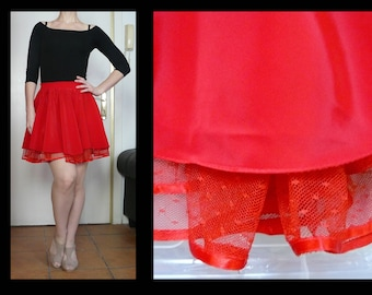 5092120e3 Vintage 80s cherry red mini circle skirt with lace underlay - New Wave /  salsa / dance skirt by Moda Italiana - size S / M