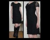 Vintage 60s black lace midi pencil dress w sheer sleeves buttoned empire waist - gothic babydoll cocktail party dress - size S M