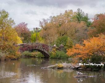 Autumn Photography, Gapstow Bridge, Foliage, Fall, Central Park, New York Print, Art Print, NY Art, Manhattan, Wall Art, Living Room