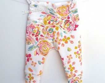 2598150008ae6 Pink Roses Baby Leggings, Pink and Gold Floral Baby Leggings, Floral Newborn  Clothes, Baby Leggings