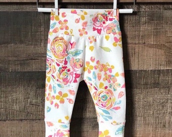 bb9d121474911 Pink and Gold Floral Baby Leggings, Floral Newborn Clothes, Baby Leggings