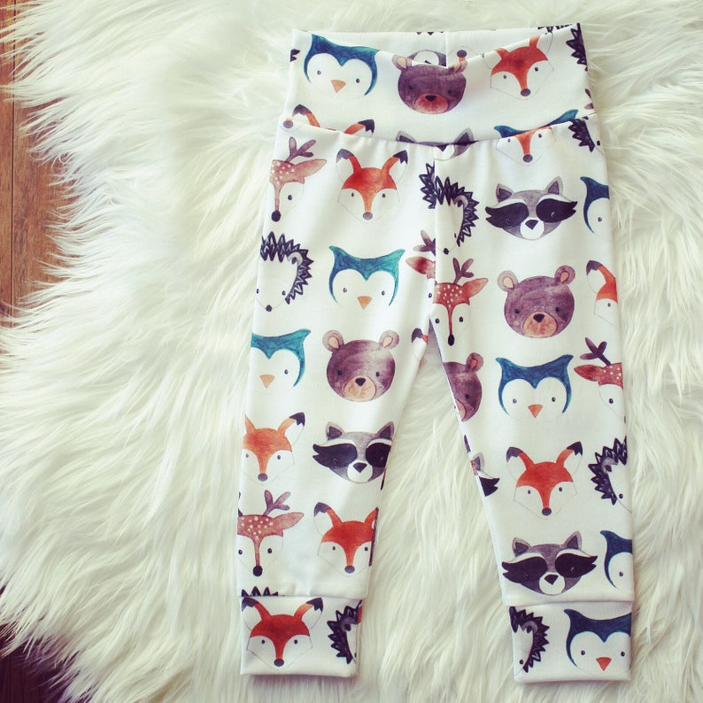 598d82b7136e Woodland Creatures Baby Leggings Woodland Animals Baby Pants