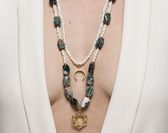 Indian agate and sacral chakra pendant necklace