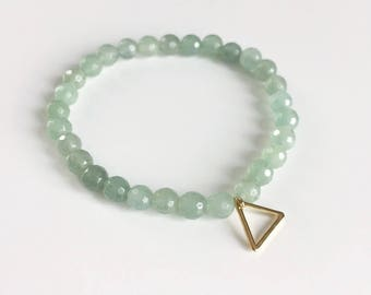 aventurine and triangle bracelet gold