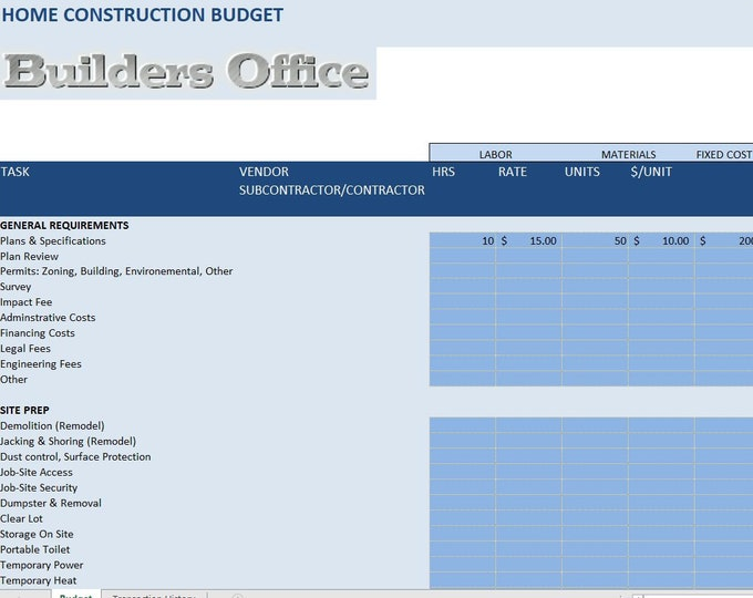 CONSTRUCTION BUDGET TEMPLATE - Ideal for New Home Builders and Tradesman and home renovations- home remodeling