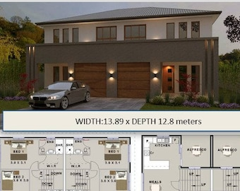 300 m2 | 6 Bed narrow lot Townhouse design Gracemere  |  house plans for sale
