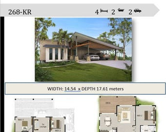 268m2 | 4 Bedrooms | 4 Bedrooms - Split Level Floor Plan | 4 bedroom  carport plans | Modern 4 bed Home for sloping land | 4 bed blueprint |