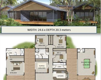 Acreage Home Design - 4 or 5  Bedrooms 2 Bath rooms plus rumpus room | House Plans For sale | 353m2 or 3800 sq feet