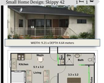 Small House Plan 49 Nikara 529 Sq Foot 49 2 m2 1 Bedroom | Etsy