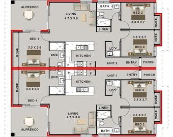 210 M2 6 Bedroom Dual Key Designs 6 Bedroom Duplex Plans Etsy