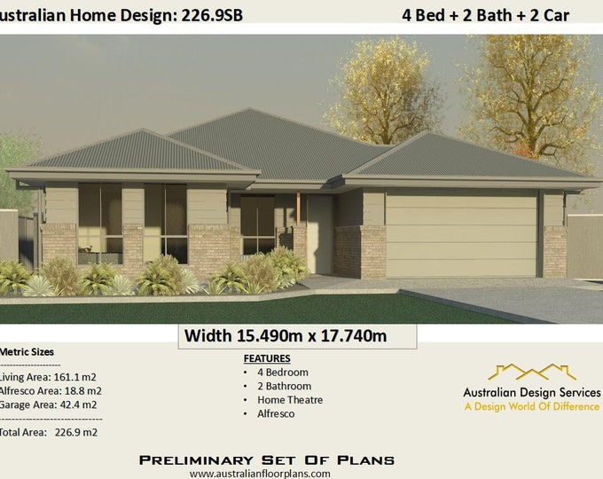 226.9m2 | Modern 4 Bedroom Concept Architectural Plans For Sale