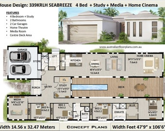 259 m2 5 Bedrooms U Shaped House Plan 5 bed Large 5 bed   Etsy