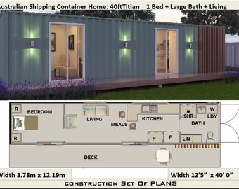 2 Bedroom Shipping Container Home 68 0 M2 Or 731 Sq Ft Etsy