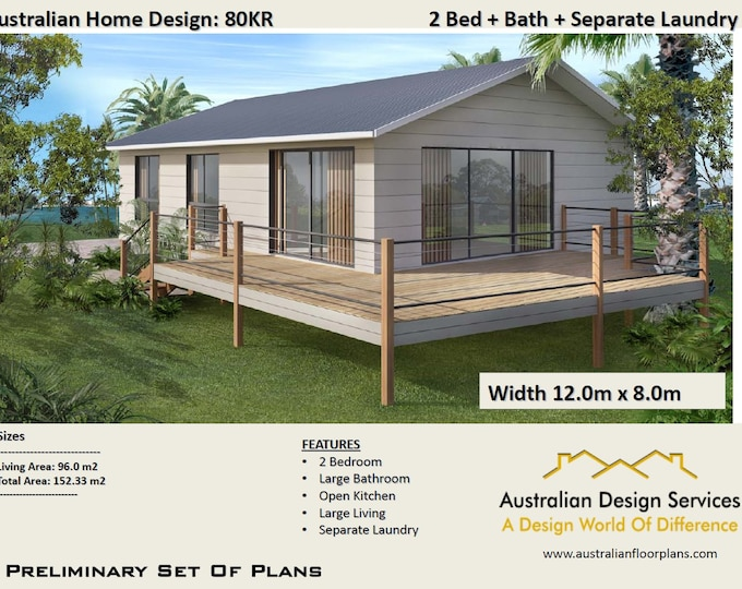 Plan 80 Kr / Concept House Plans For Sale | House Plan SALE  | Living Area 96 m2  Total Area 152 m2