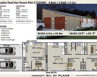 Duplex House Plans Design Book Etsy