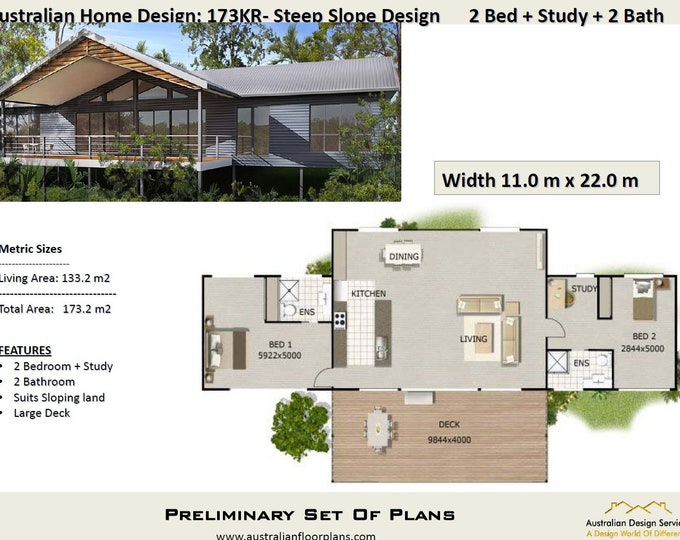 173m2 | 2 Bedroom Pole Home  Concept House Plans For Sale | Home Plan 2 bed | 2 bedroom + Study plans |