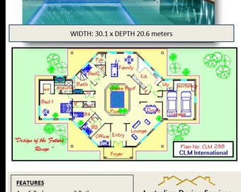 4 or 5  Bedrooms 2 Bath rooms + Internal Pool Acreage Home Design | House Plans For sale | 382.08 or 4100 sq feet