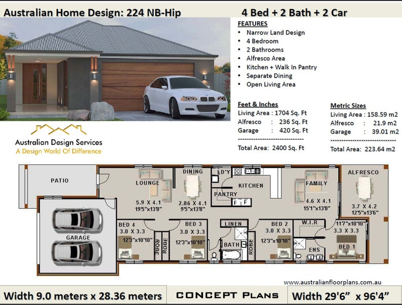 Tremendous 223 M2 Or 2400 Sq Foot Australian 4 Bedroom House Plan Narrow Land House Plan Modern House Plan Download In Metric Or Feet And Inches Interior Design Ideas Clesiryabchikinfo