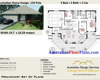 3 bedroom Pole Home Plans For Sale 134 m2 |  3 Bedrooms on stumps plans |