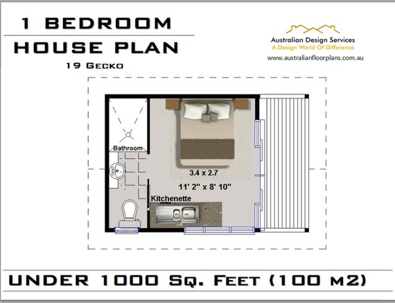 19 Gecko House Plan Under 1000 Sq Foot 1 Bedroom House Etsy