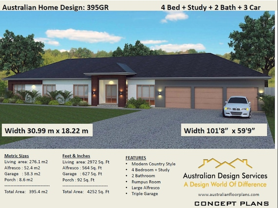 House Plans / 4 Bed + Study + Home Plans For Sale / 395 m2 or 4252 on